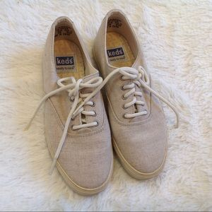 Keds Tan Canvas Low Top Lace Up Sneakers